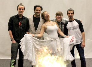 """The collaborative team of """"Origin Stories, 2016,"""" Produced and conceived by Film maker and composer Kenji Williams. Pictured left to right: Zaak Kerstetter (Music Remix), Kenji Williams (producer, composer), Donna Mejia (Dance Artist), Joanna Bugajska (production assistant), Gordy Chernyyi (Coder and visual artist--the talented man who created the fire projection on my skirt!)"""