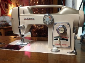 Vintage White Sewing Machine/ Model 764/ Walnut Finish. 1964 Japan White 764 HGT World's Fair Sewing MachineThey don't make 'em like this anymore. Found for $18 (including cabinet) Soooo Silky Smooth! Slowly finding slant shank attchments for it.