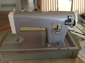 "Sears Kenmore (1963 - 1966). This pearly mod-machine is a straight-stitch-only with a very powerful motor for industrial-grade sewing on thick, tough materials. It's a heavy, all steel, fast machine lovingly named ""bat out of hell"" by my favorite machine master, Bob Juenemann (http://makeitsew.biz/)"