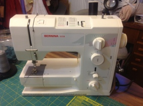 Most work is tackled on the Bernina 1008. Purchased used in 2001 with less than one year of use on it. I love the versatility of specialty presser feet by Bernina, and the very high stitch quality of this workhorse never fails.