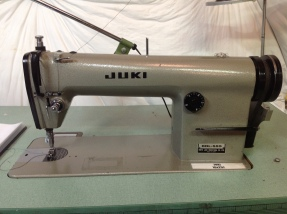 Juki Industrial straight lockstich DDL 555. I gladly adopted and restored this machine from a warehouse facility that experienced some flooding. At 3,500 stitches per minute, it was worth the restoration effort. Thank you to Ralph's Industrial Sewing for aiding with that process. Vintage leather spats anyone?