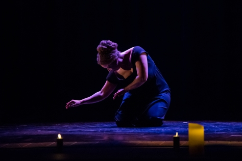 "Donna Mejia performing ""Administer the Correction"" at CU Boulder, April 2019 #1, Photo by Iain Court"